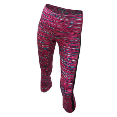 TR Mid Rise Capri- Pink Print (Front View)