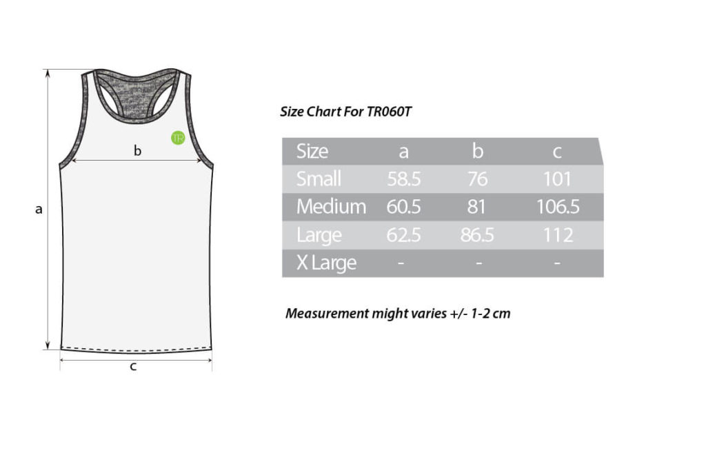 TR060T size chart