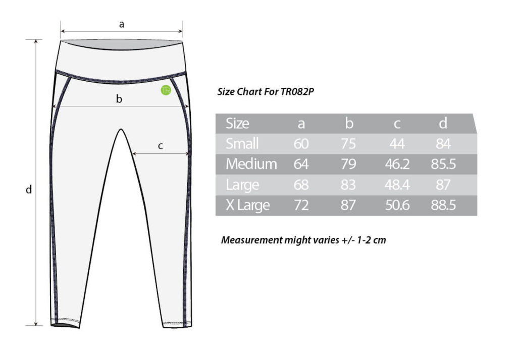 TR082P Size Chart
