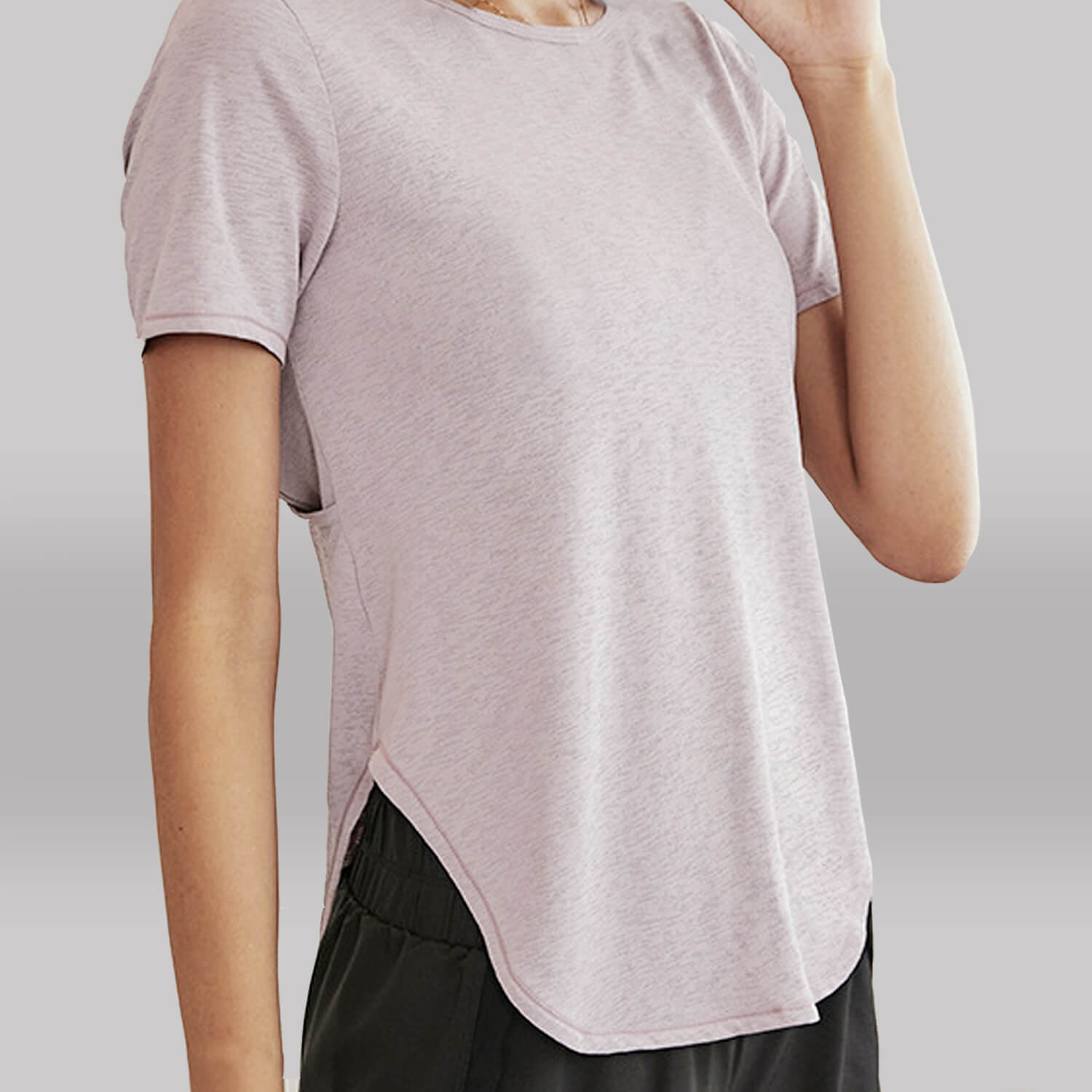 Yoga open back layered tee-front view-pink