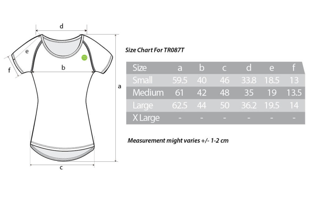 TR087T size chart
