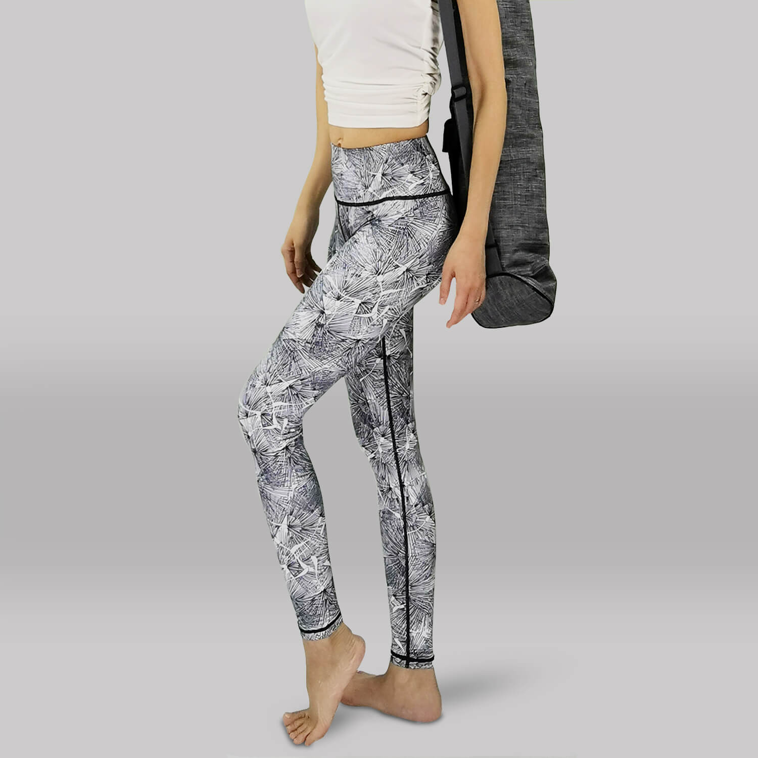 Yoga Legging- Basic Long Tights - Side View - White Color