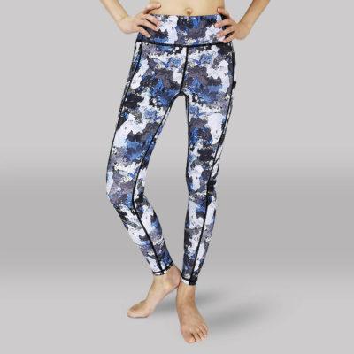 Yoga Legging-Long Tights-Front View -Blue Print