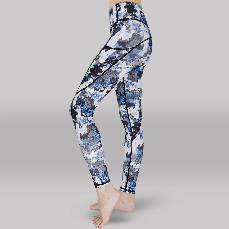 Yoga Legging-Long Tights-Side View -Blue Print