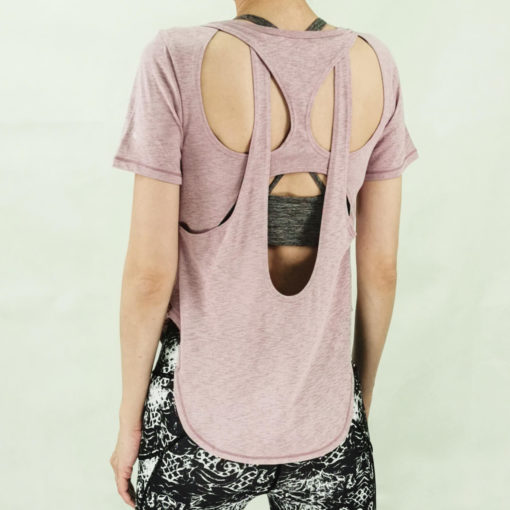 Yoga open back layered tee-back view-pink