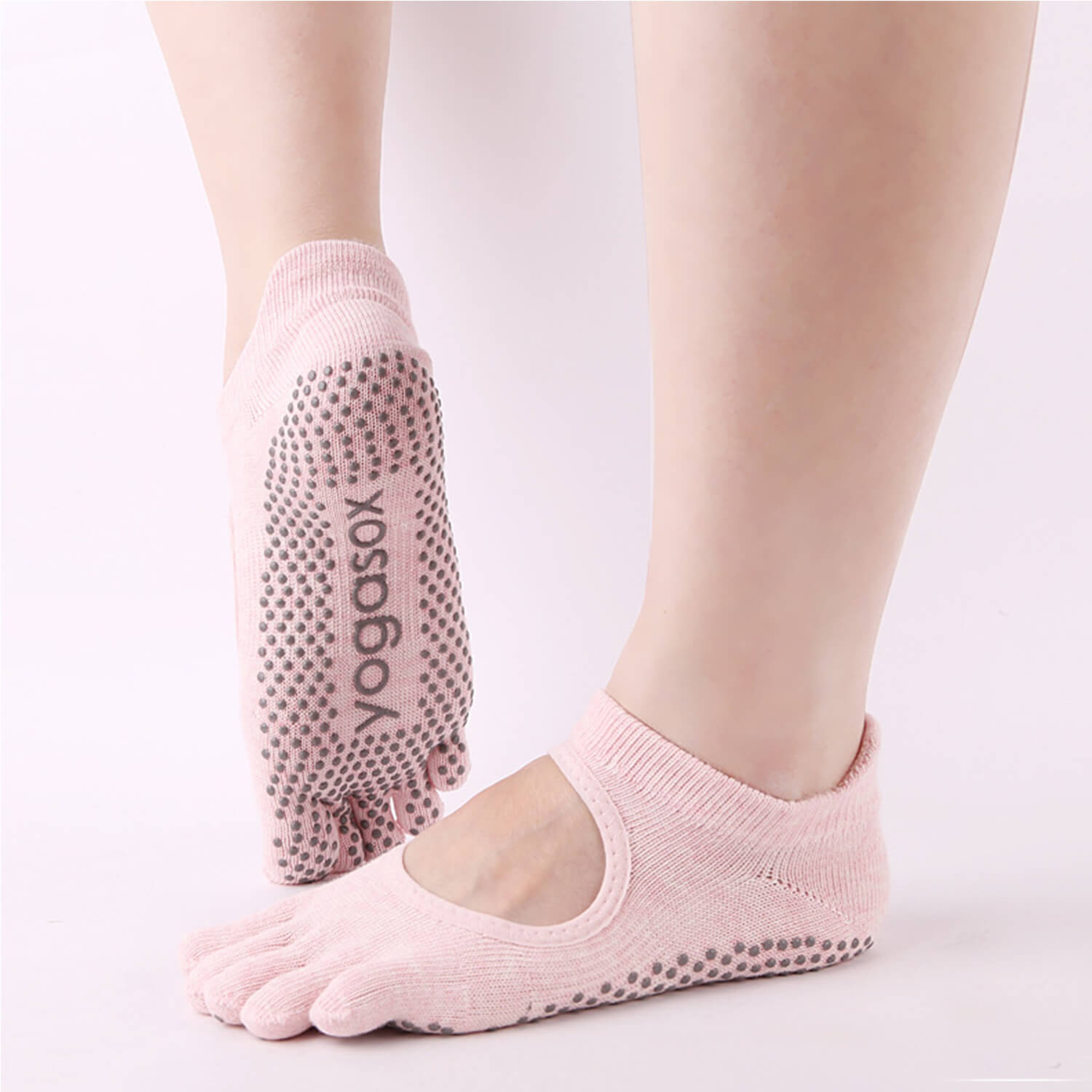 Antislip yoga sock with open top - Pink