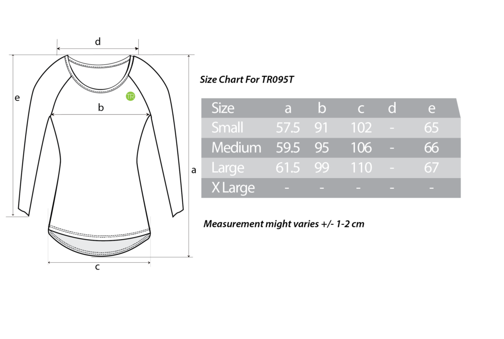 TR095T Size Chart