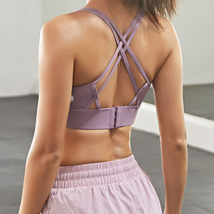 Strappy Max Sports Bra- Purple -Rear